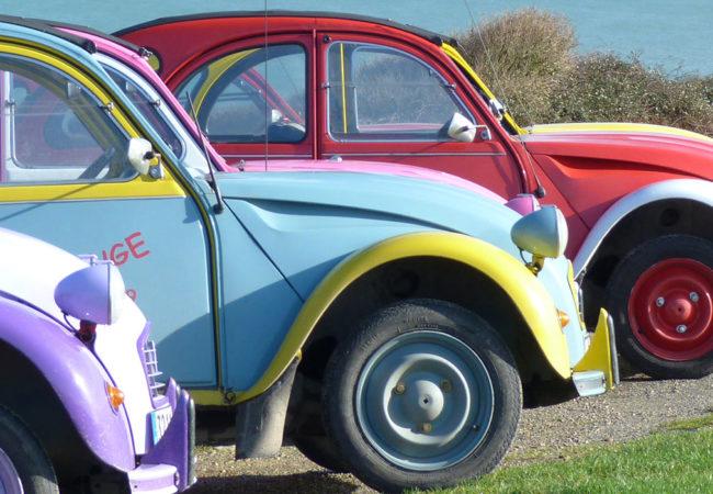 Citroën 2cv cars at Longues-sur-Mer