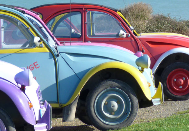 Citroën 2cv cars at Longues-sur-Mer