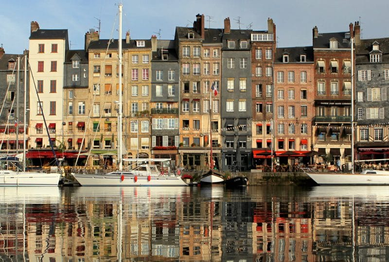 Boats berthed in the harbour at Honfleur
